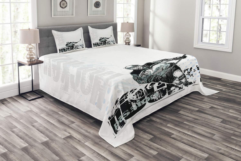 Abakuhaus Eishockey Tagesdecke Set, Profi-Torwart, Set mit Kissenbezügen Sommerdecke, für Doppelbetten 220 x 220 cm, Mehrfarbig