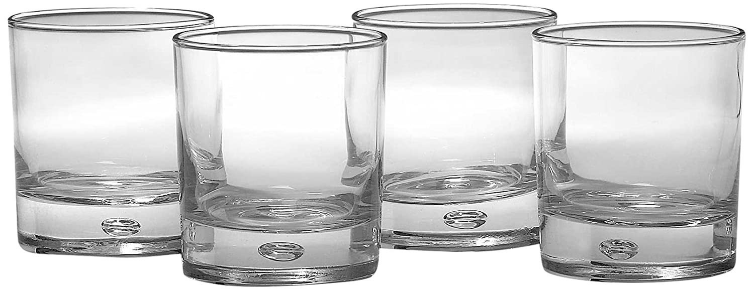 Circleware Soiree Heavy Base Whiskey Glass Drinking Glasses, Set of 4, Entertainment Dinnerware Glassware for Water, Juice, Beer Bar Liquor Dining Decor Beverage Cups Gifts, 14.8 oz, Bohemia DOF 44651