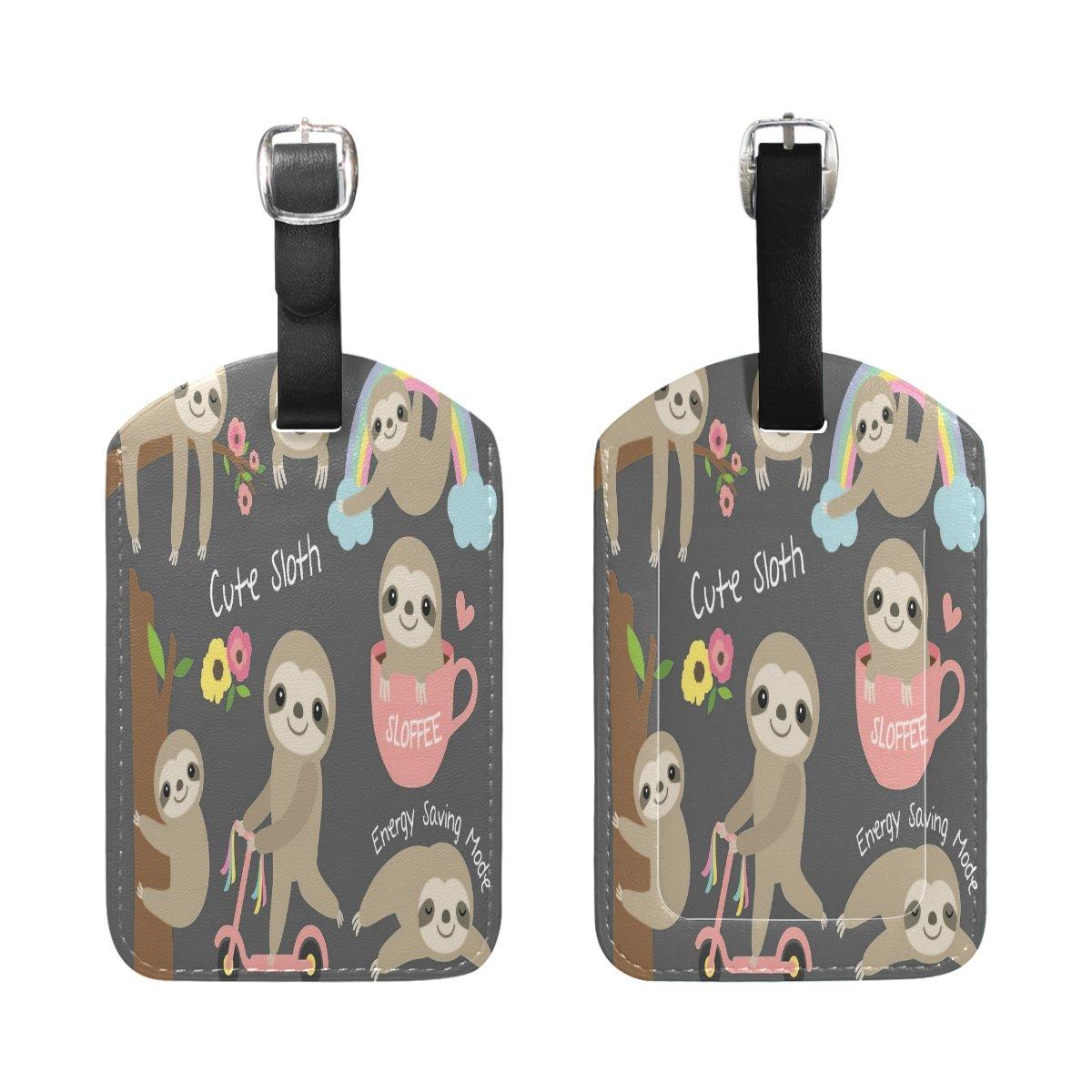 Saobao Travel Luggage Tag Cute Baby Sloth PU Leather Baggage Travel ID