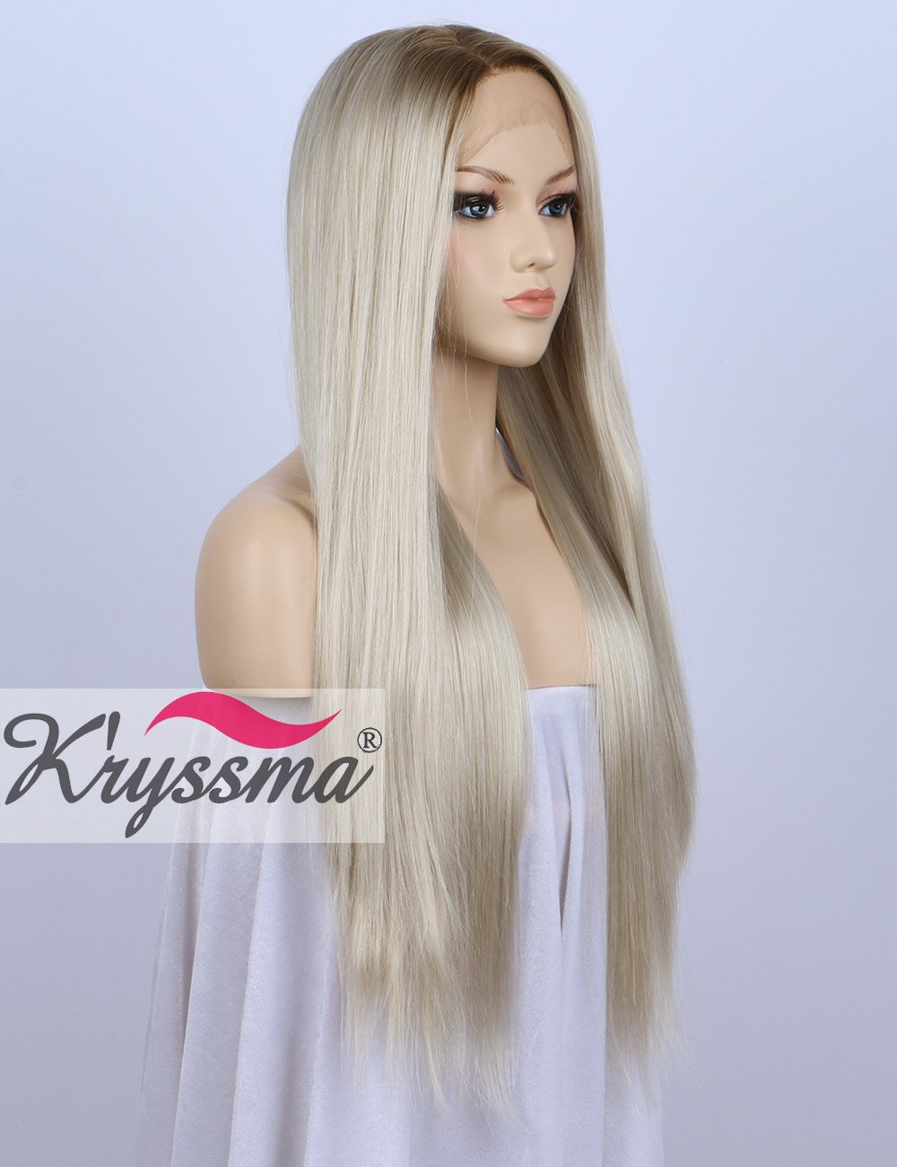K'ryssma Ombre Blonde Lace Front Wigs Long Straight Synthetic Wig For Women Heat Resistant 24 inches K'ryssma