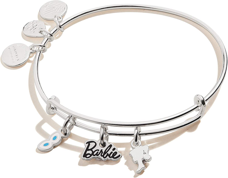 Alex and Ani Barbie Charm Bangle Bracelet Silver//Trio One Size
