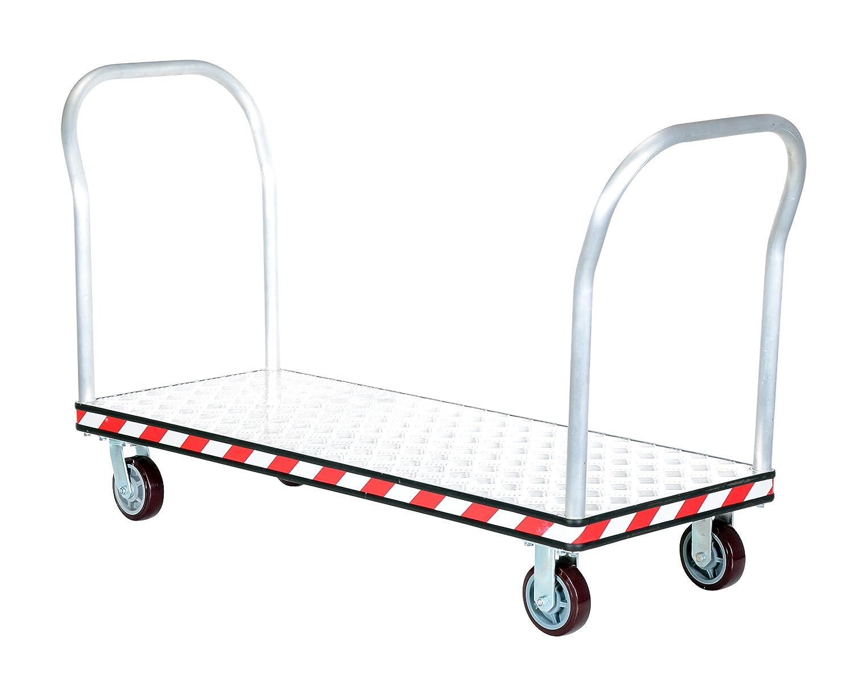 24 x 60 Vestil ATP-C-2460-2HDL Aluminum Tread Plate Platform Truck with Double Handle