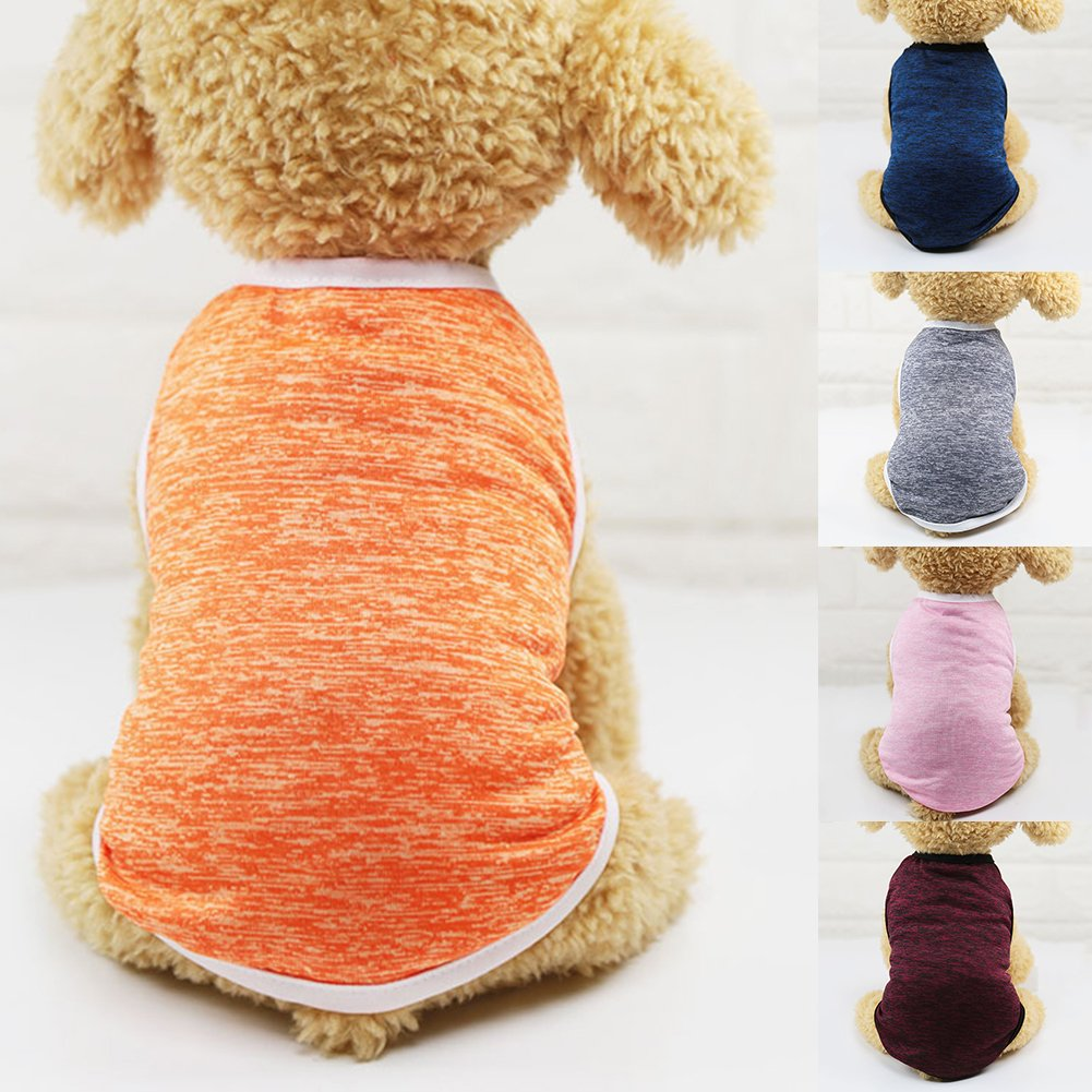 Dog Dress Dog Toys Catkoo Dog Clothes Fashion Solid Color Summer Puppy Dog Vest Sleeveless Top Tee Pet Clothes Gift Orange XS Dog Accessories