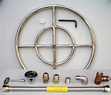 "18"" Round Stainless Steel Fire Pit Gas Burner Ring Kit with Elbow - Amazon.com: 18"