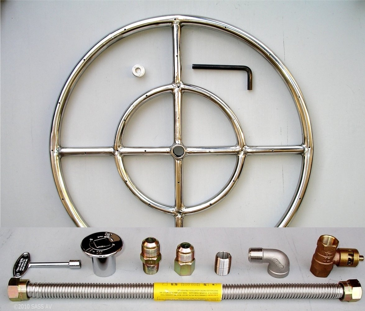 18'' Round Stainless Steel Fire Pit Gas Burner Ring Kit with Elbow