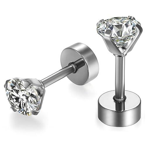 prezzi reputazione affidabile prezzo abbordabile JewelryWe Orecchini Zirconia Brillanti, Piccoli Orecchini ...