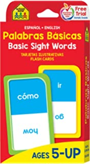 SCHOOL ZONE - Bilingual Beginning Sight Words Flash Cards, Ages 5 and Up, Early