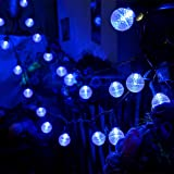 LED Outdoor Christmas Light Blue,13ft 25 Led Globe Ball Light Strings with G30 Bulbs,Commercial Grade Decorative Holiday Garden Patio Wedding Bar Lights--MAXINDA
