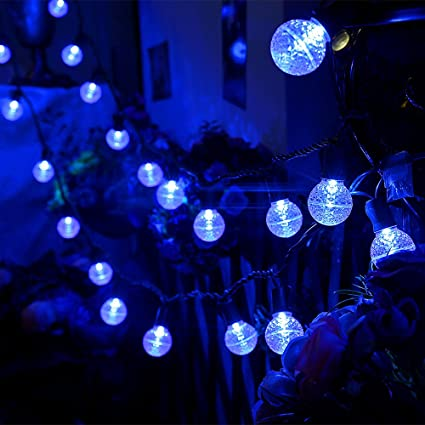 maxinda led outdoor christmas light blue13ft 25 led globe ball light strings with g30
