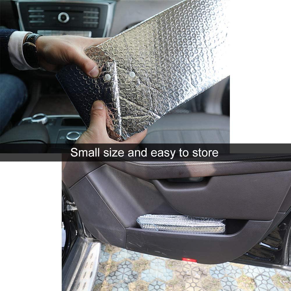 Souarts Auto Sonnenschutz f/ür Frontscheibe Aluminiumfolie Windschutzscheibe KFZ Doppelseitiges Aluminiumfolie Sonnenblende Faltbare Einfache Lagerung