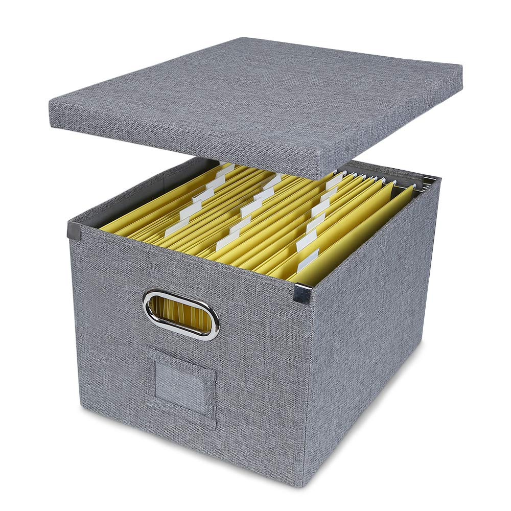 ATBAY File Storage Box Collapsible Large Capacity Office File Organizer for Letter/Legal Size Hanging File Folder Box, Gray 1Pack by ATBAY