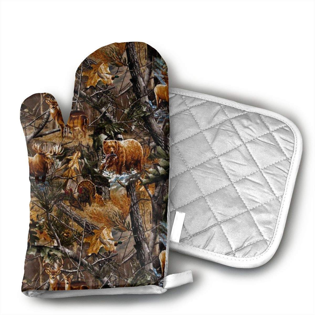 NoveltyGloves Camo Hunting Deer Bear Moose Turkey Duck Oven Mitts,Professional Heat Resistant Microwave BBQ Oven Insulation Thickening Cotton Gloves Baking Pot Mitts Soft Inner Lining Kitchen Cooking