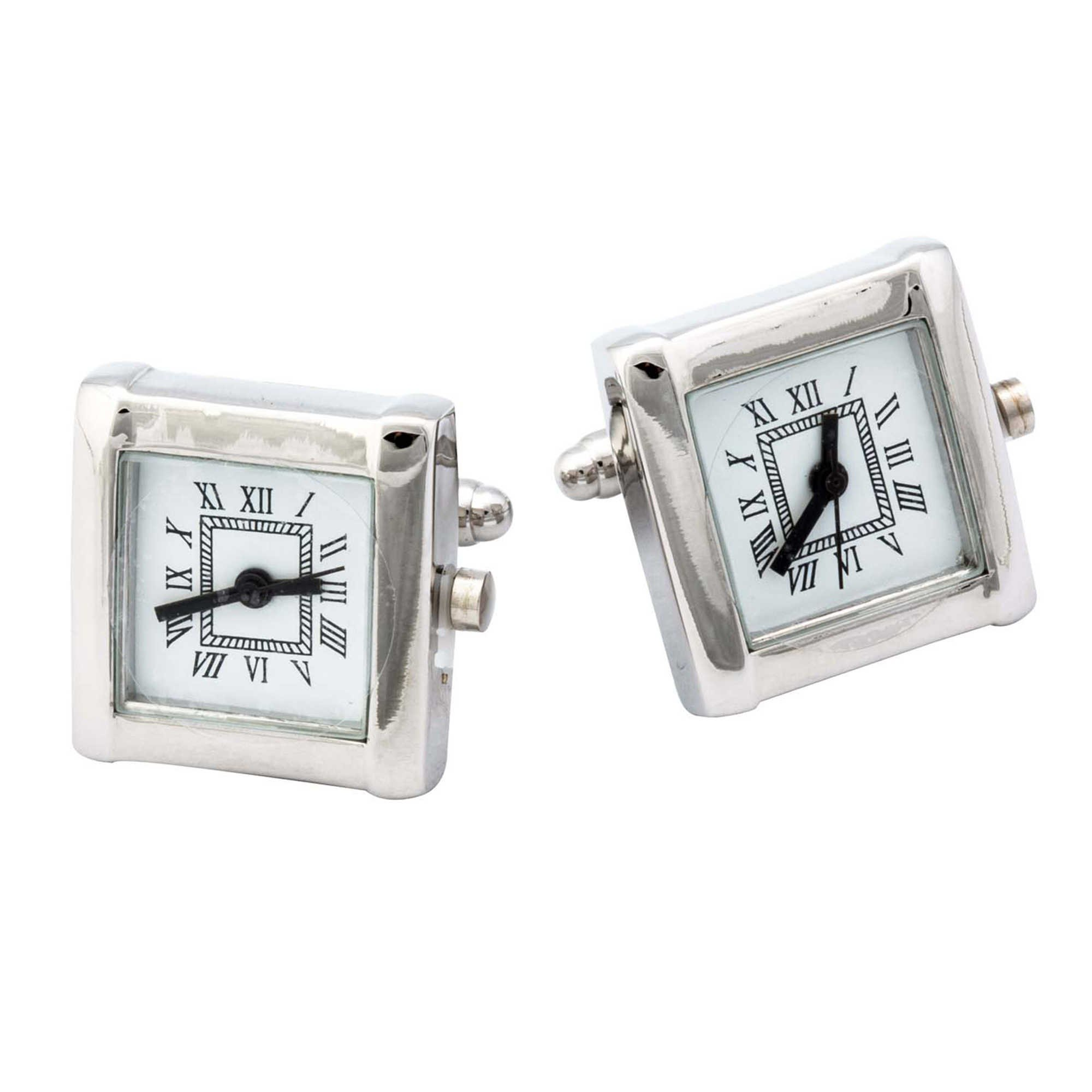 Working Silver Rhodium Plated Watch Cufflinks by Generic
