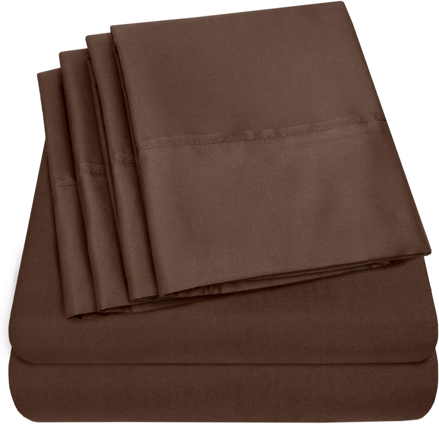 Sweet Home Collection Split King Sheets-7 Piece 1500 Thread Count Fine Brushed Microfiber Deep Pocket Set-EXTRA PILLOW CASES, VALUE, Brown
