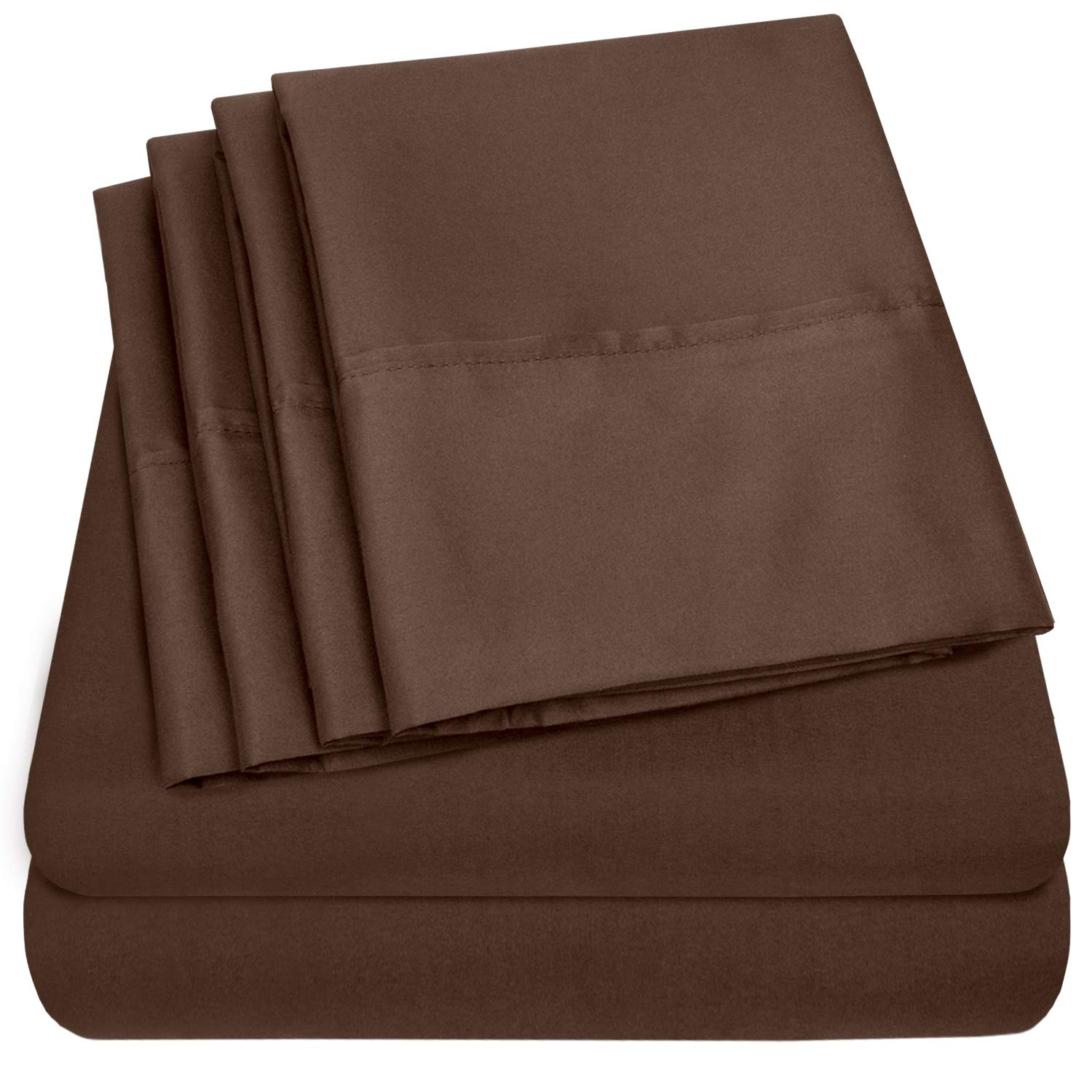Sweet Home Collection Quality Deep Pocket Bed Sheet Set - 2 EXTRA PILLOW CASES, VALUE, Twin XL, Brown, 4 Piece