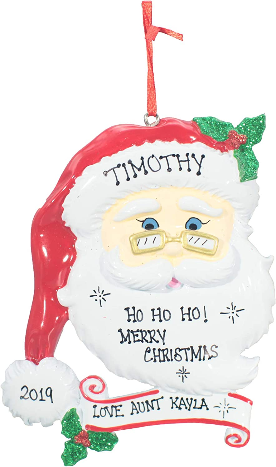 Personalized Christmas Tree Decoration Ornament 2020 – Traditional Home Décor – New Year Santa Gift - Holiday Fun w Hanging Hook - Jolly Santa - Free Customization