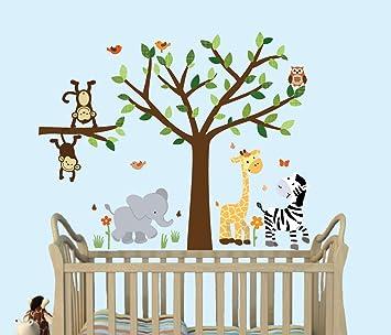 Amazoncom  Safari Pride Tree Wall Decals Jungle Stickers With - Nursery wall decals jungle