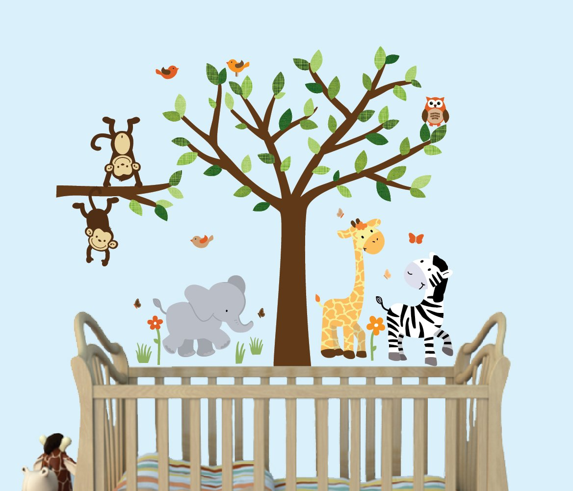 Safari Pride, Tree Wall Decals, Jungle Stickers with Green Leaves and Fabric Tree