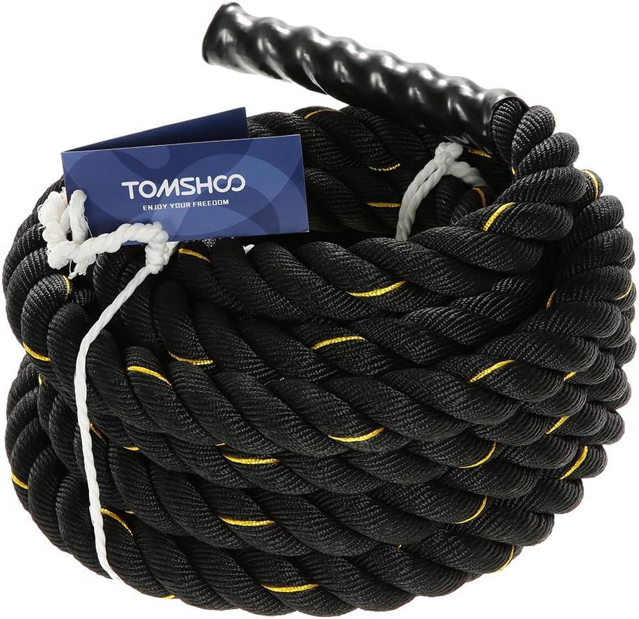 TOMSHOO Cuerda de Batalla Battle Rope Cuerda Fitness Formación Ejercicio de Diámetro de 38mm Longitud de 10m/12m/15m