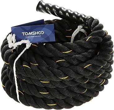 TOMSHOO Cuerda de Batalla Cuerda de Entrenamiento ondulatoire Cuerda de Ejercicios Combat Cuerda de Fitness 38 mm/50 mm diámetro 10 m/12 m/15 M ...
