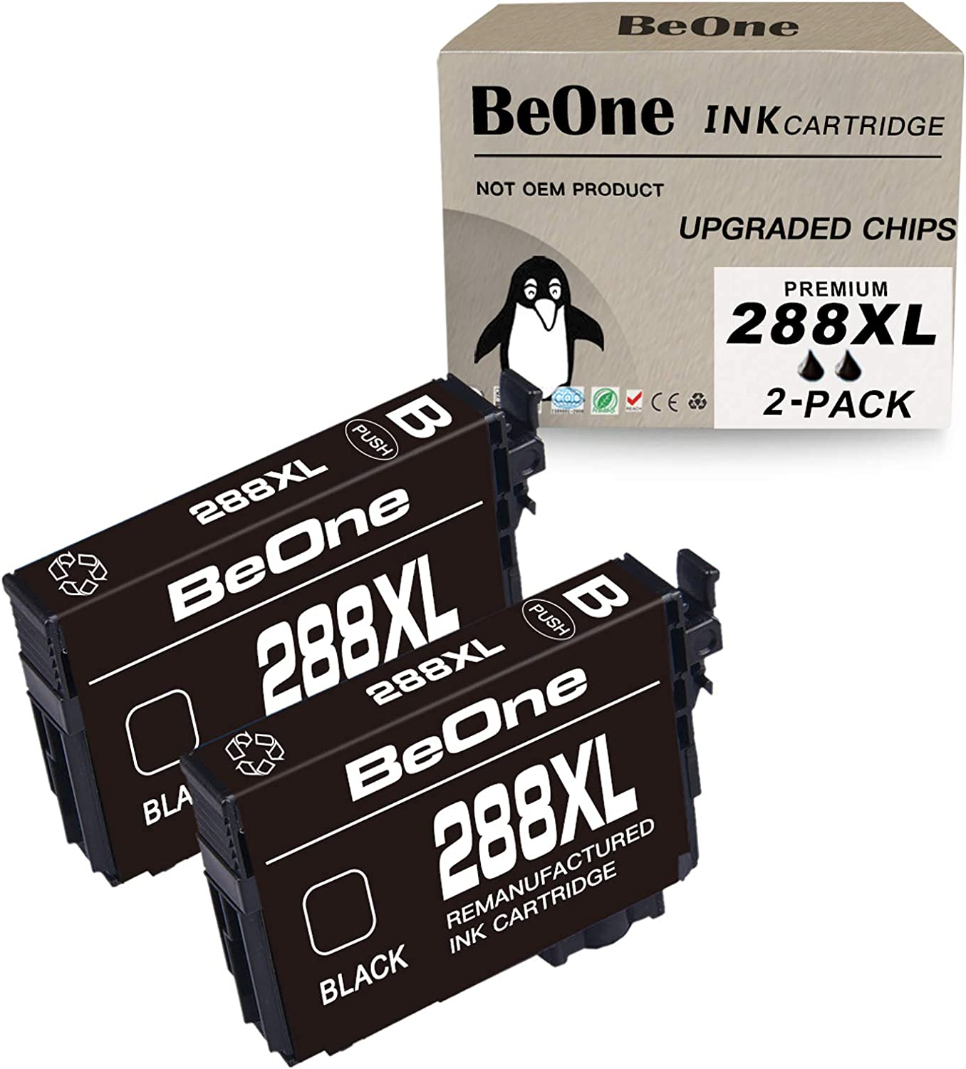 BeOne Remanufactured Ink Cartridge Replacement for Epson 288 XL 288XL T288 T288XL Black 2-Pack Use with Expression Expression Home XP-440 XP-340 XP-446 XP-330 XP-430 XP-434 XP440 XP340 XP446 XP330
