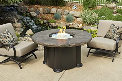 60,000 BTUs Outdoor GreatRoom 48 in. Colonial Fire Pit Table In Marbleized Noche