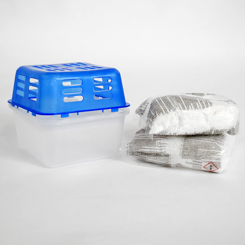 Feuchtigkeitsabsorber Raum Luft Entfeuchter Box mit 2x 1kg Nachfüllpack Granulat