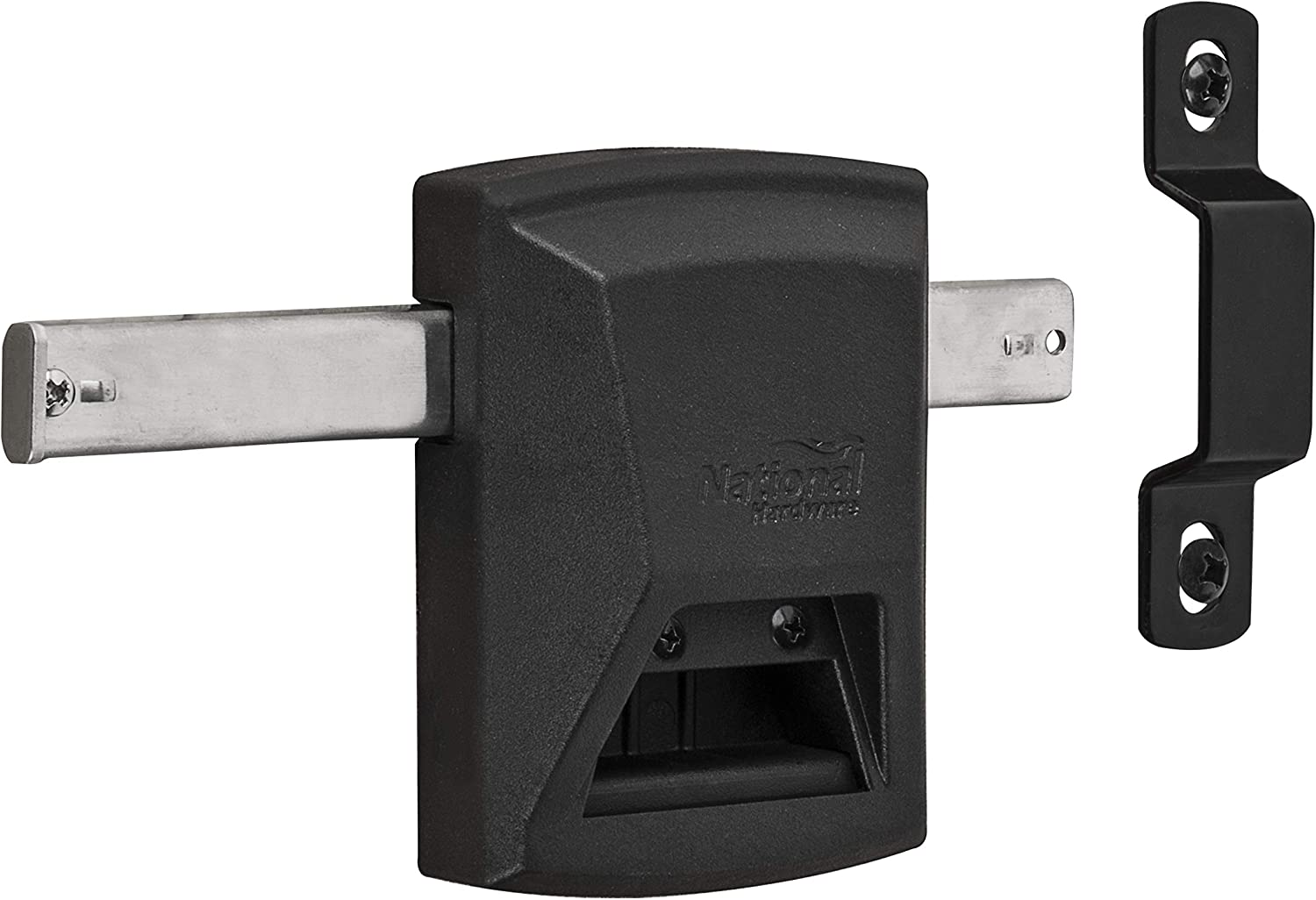SmartKey Gate Lock N109-080 by National Hardware for Vinyl and Wooden Fences, Black
