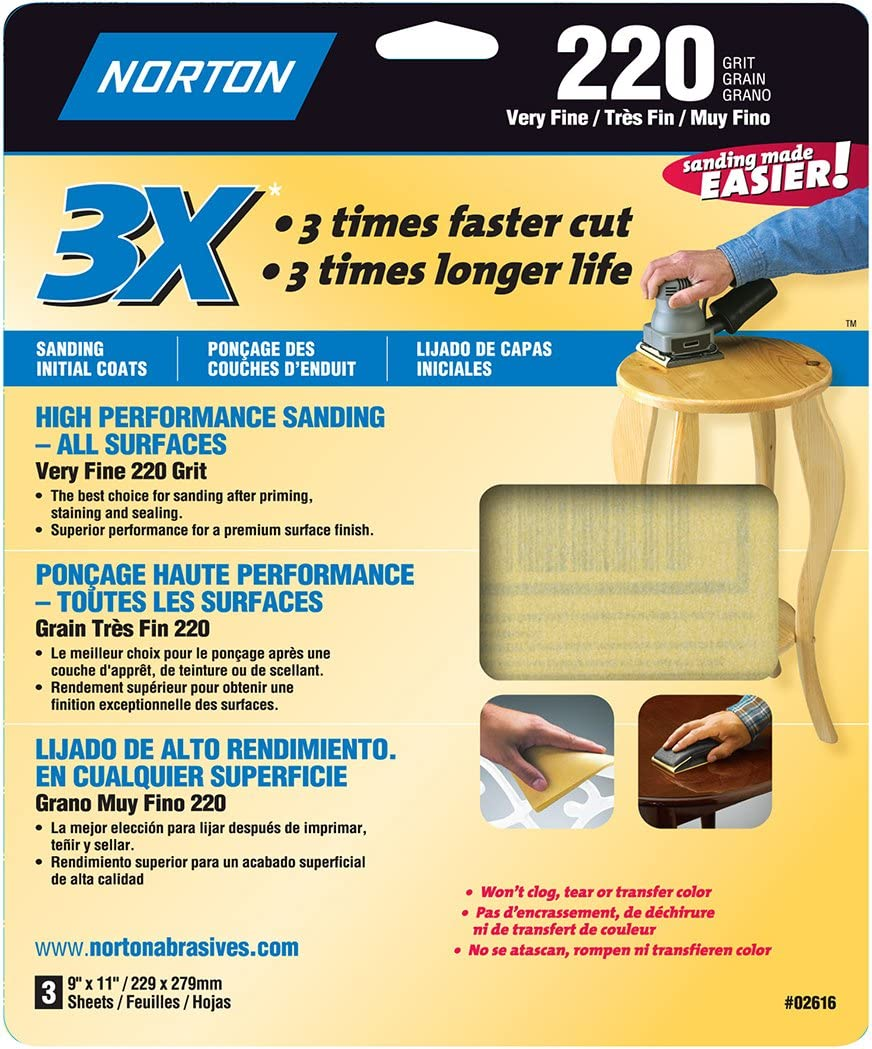 9-Inch x 11-Inch 3-Pack Norton 02613 3X Handy Aluminum-Oxide Sandpaper 320 Grit