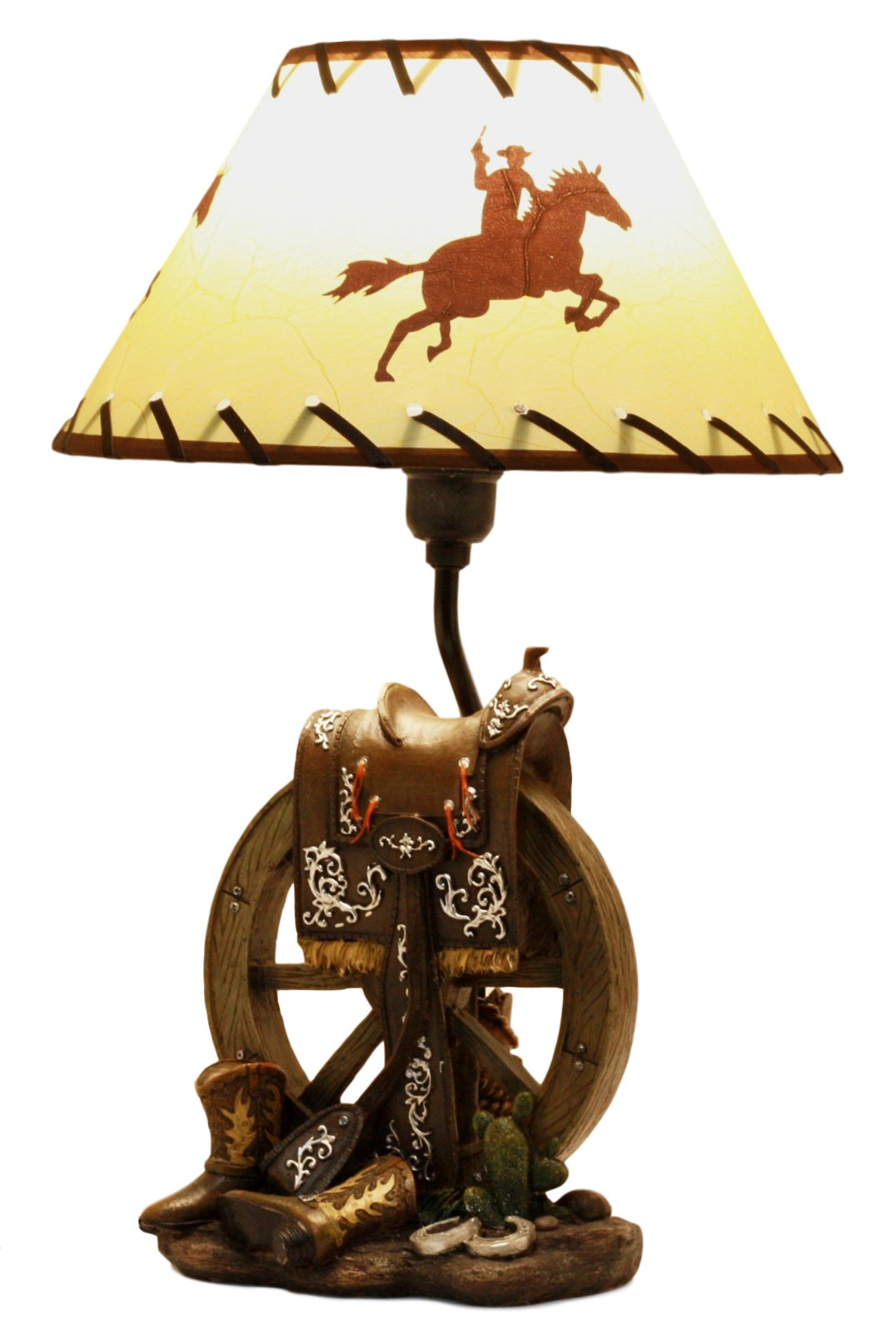 Ebros Horse Saddle Set On Vintage Wagon Wheel With Cowboy Boots Desktop Table Lamp 18.25''Tall Country Cowboy Western Home Decor