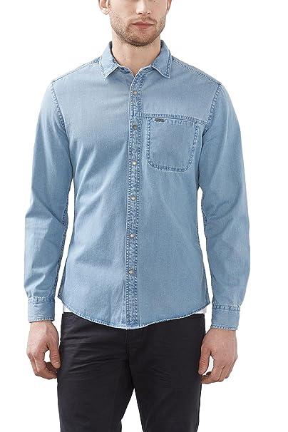 edc by Esprit 017cc2f001, Camisa para Hombre, Azul (Blue Light ...