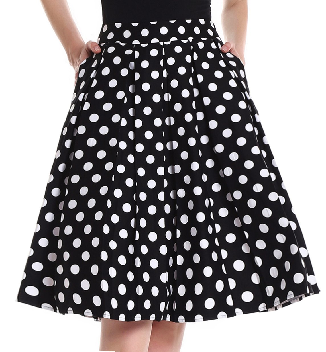 Yige Women's Vintage High Waist Flared Skirt Pleated Floral Print Midi Skirt Pocket Wave Point-L