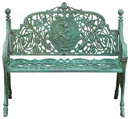 Great Biscottini Cast Iron Made Art Nouveau Antiqued Green Finish W105xDP43xH90  Cm Sized Bench