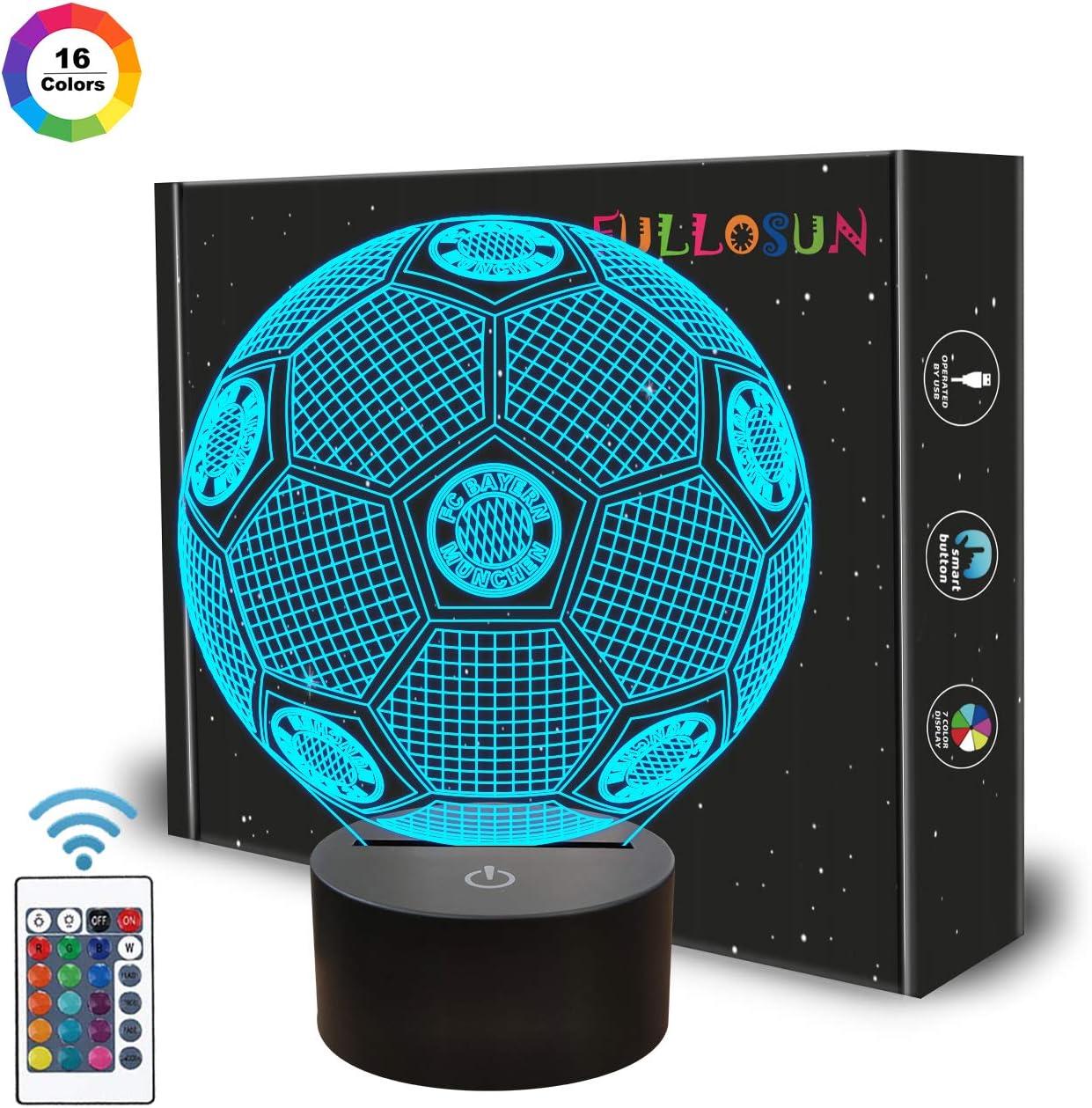 Regalos de fútbol, luz nocturna para niños, lámpara de ilusión óptica 3D con control remoto, cambio de 16 colores, cumpleaños, día de San Valentín, idea de regalo para amantes de los deportes