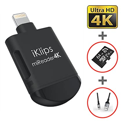 iKlips miReader MicroSD 4K Card Reader Compatible for iPhone iPad, External Memory Storage Charger, Store View Edit Record 4K Video From GoPro, ...