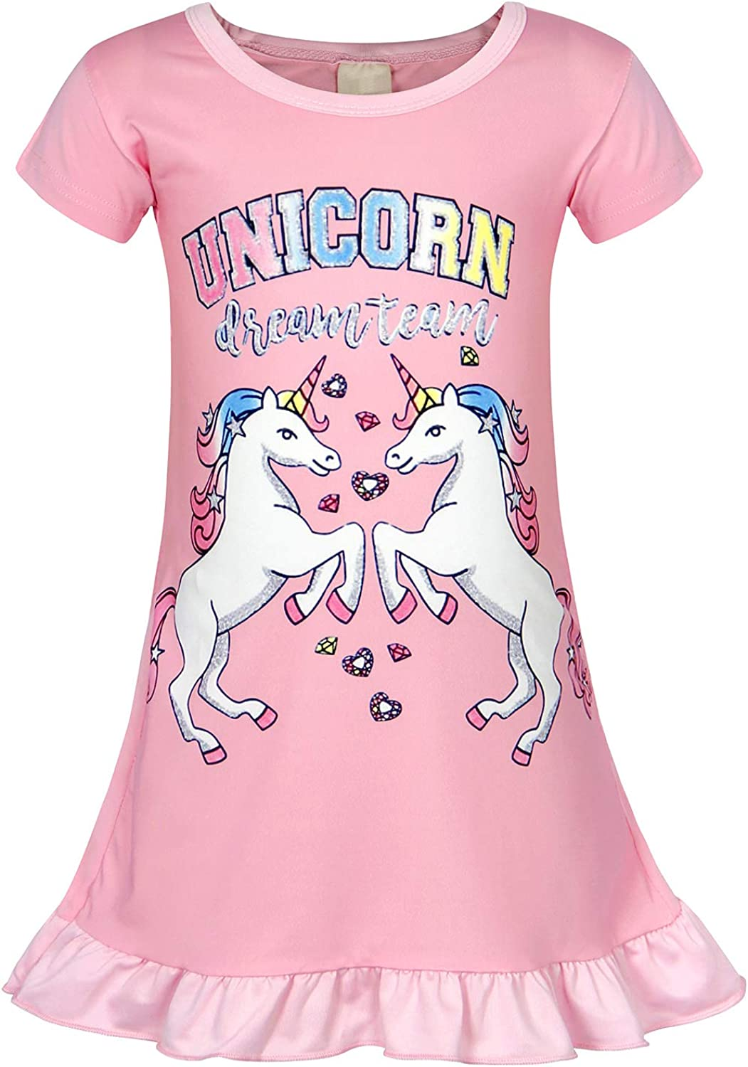 AmzBarley Girls Unicorn Nightgowns Kids Rainbow Nightie Nightdress Short//Long Sleeve Unicorns Nighties Dressing Gown Night Dresses Child Sleeping Outfit