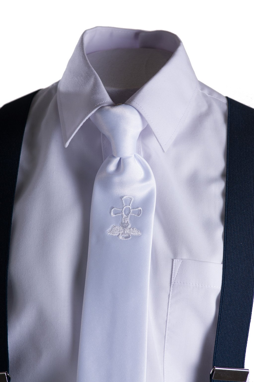 Boys Slim Fit Navy Suit, White Communion Cross Tie, Suspenders & Handkerchief (10 Boys) by Tuxgear (Image #6)