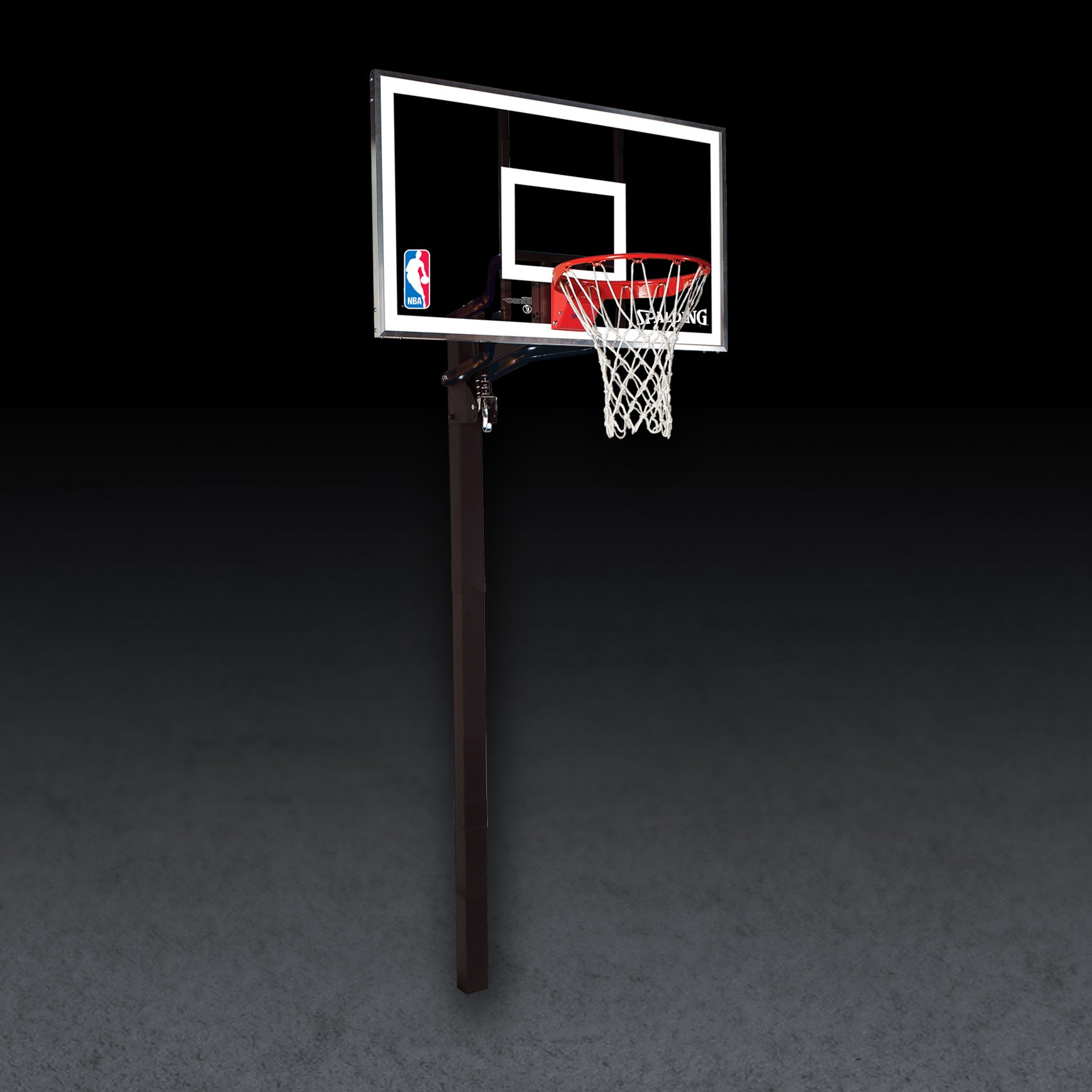 Spalding NBA In-Ground Basketball System - 60'' Aluminum Trim Glass Backboard