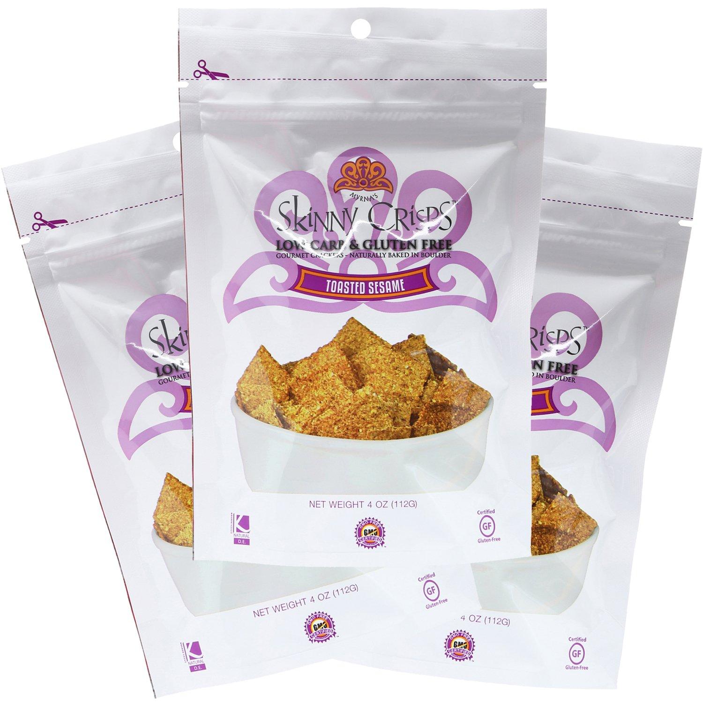 Skinny Crisps Toasted Sesame Low Carb Gluten Free Gourmet Crackers 4 Oz Bag