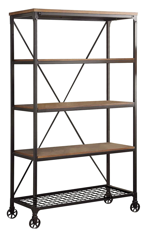 "HOMELEGANCE Wood and Metal Bookshelf, 40"", Brown/Black"