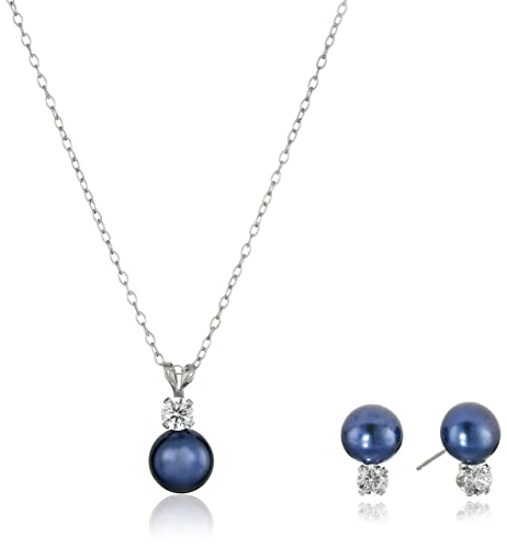 Fine Jewelry 7-8Mm Cultured Freshwater Blue Pearl Sterling Silver Necklace uNN60