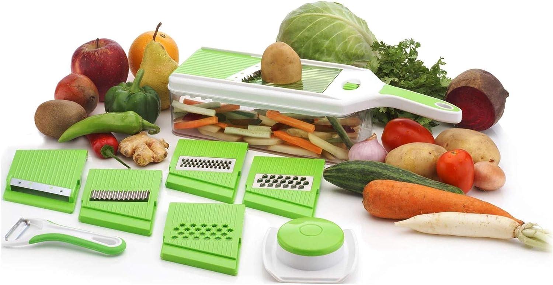 Gemüsehobel Lebensmittelschneider 6 In 1 Gemüseschneider Premium Kartoffelschneider Frittierschneider Zwiebelschneider Gemüseschneider Große Reguläre Dünne Ripple Dicke Reibe Mit Gratis Schäler Grün