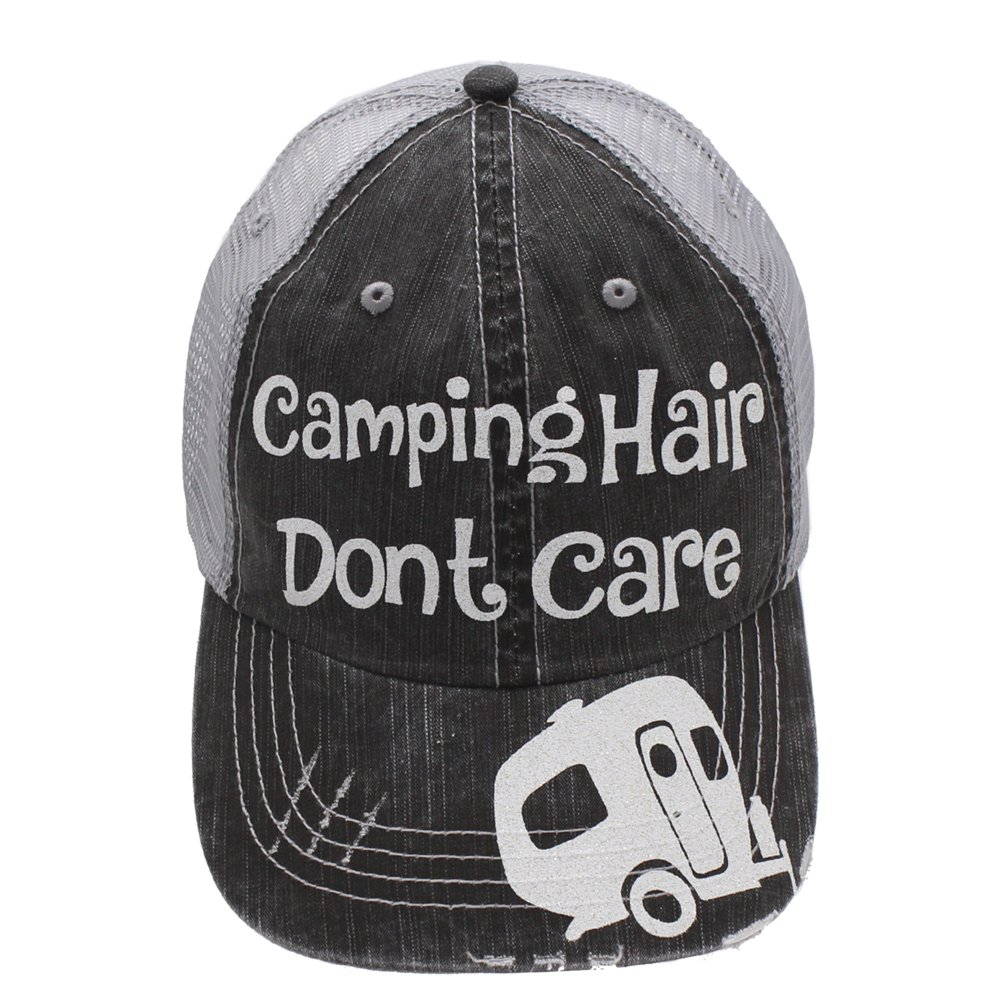 Camping hair Don't Care Glittering Rocks any Outfit Trucker Cap Hat (Grey/White)
