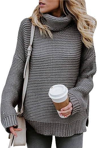 Jerseys de Punto Mujer Jersey Punto Cuello Vuelto Mujer Oversize Grueso Sueter Señora Gordos Ancho Sweaters Sweater Tejido Jerséis de Mujer Suéter Jerséy Pullover Sueteres Tejidos Invierno