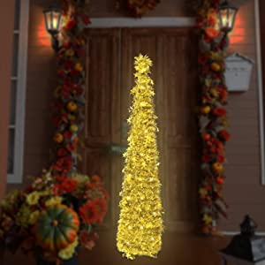 Christmas Garland Tree Decorations with 8 Modes Lights, 4.9ft Small Pop up Outdoor Skinny Pencil Prelit Tree Decor for The Home(Gold)