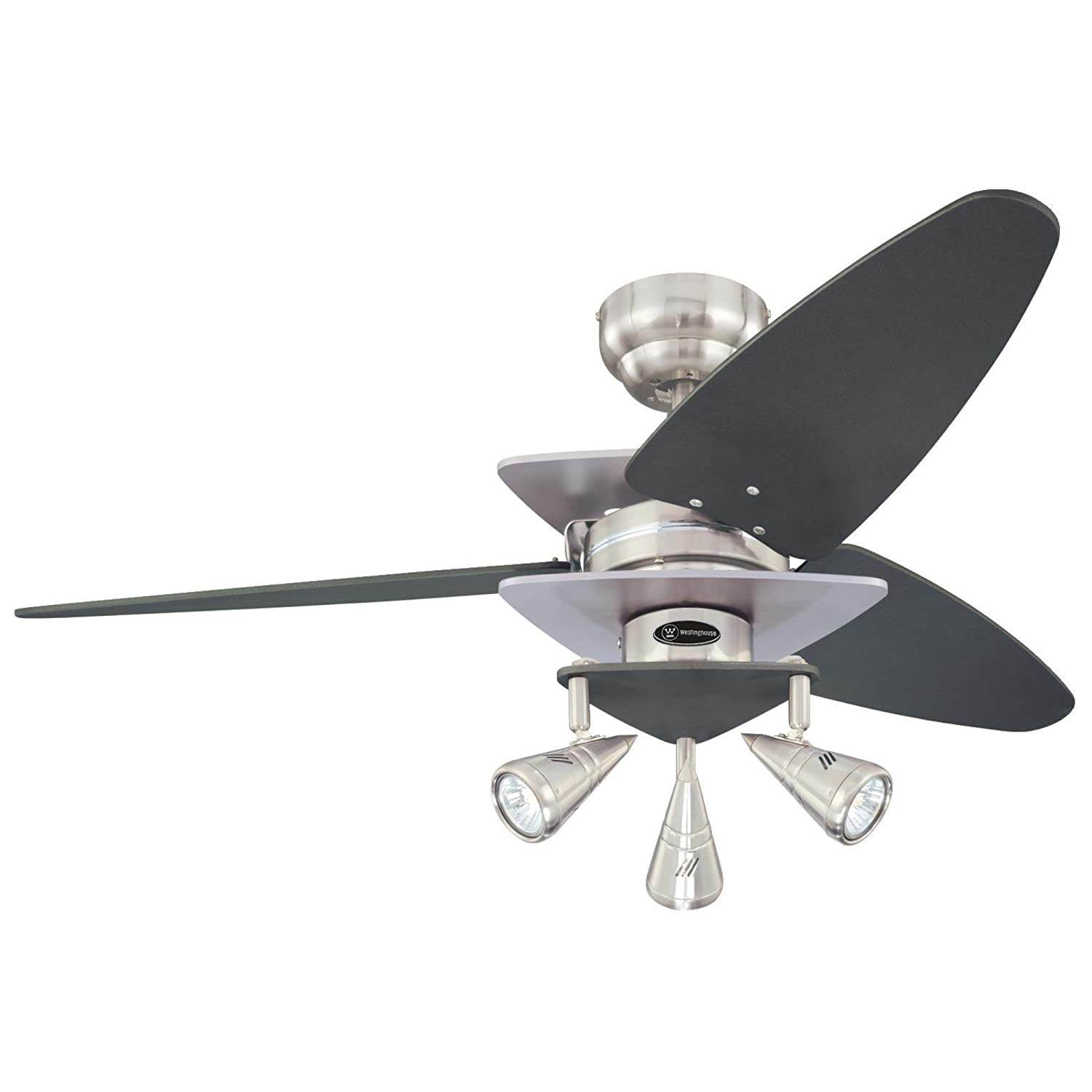 Westinghouse Lighting 7850700 Vector Elite Light 42-Inch Reversible Three-Blade Indoor Ceiling Fan, Brushed Nickel and Graphite with Spotlights