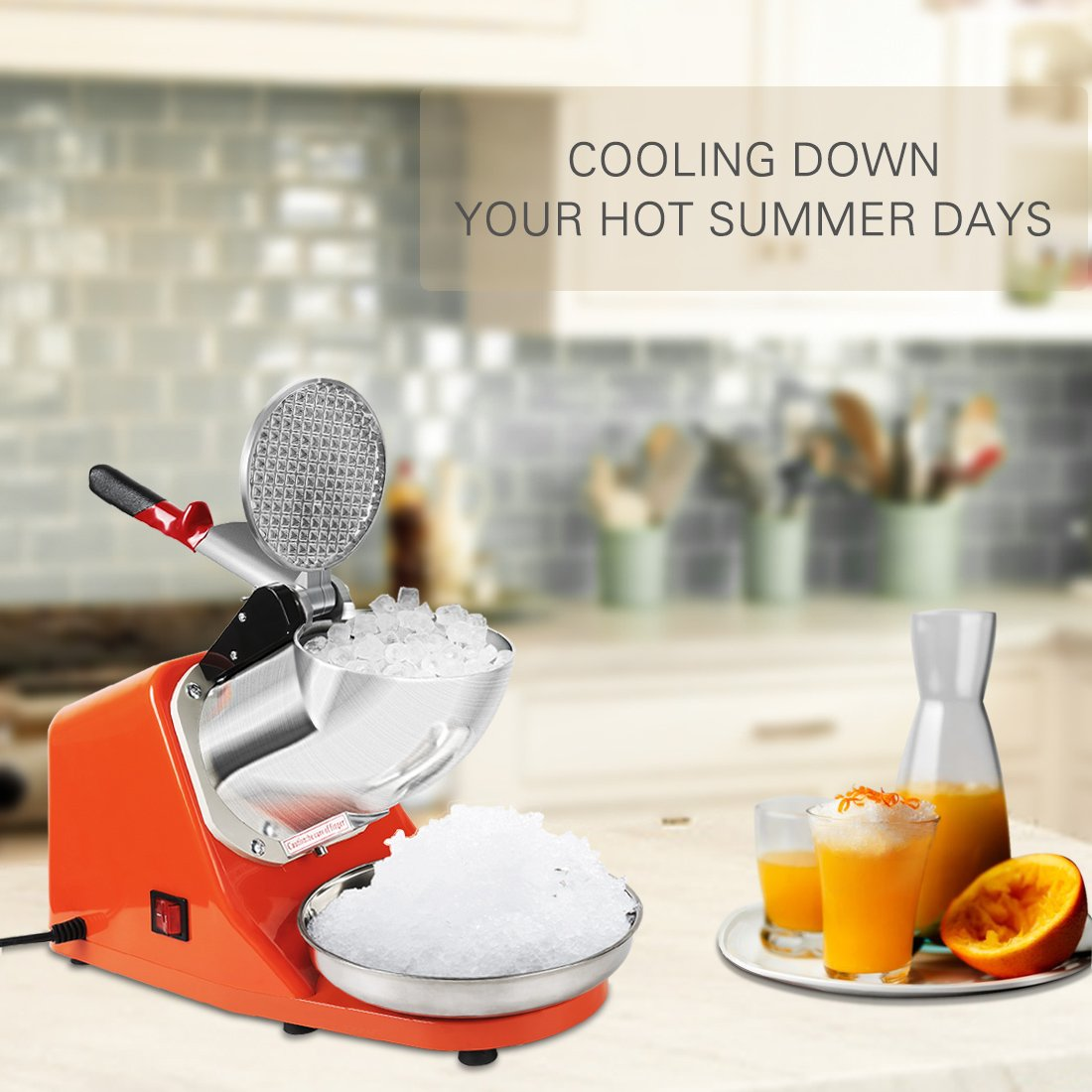 VIVOHOME Electric Ice Crusher Shaver Snow Cone Maker Machine Orange 143lbs/hr for Home and Commerical Use by VIVOHOME (Image #7)
