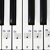 Stickers for Piano / Keyboards, 49,61,76,88 Key Full Set of Piano & Keyboard Music Note Stickers, Transparent Plastic Stickers has both black keys and white keys & User Guide