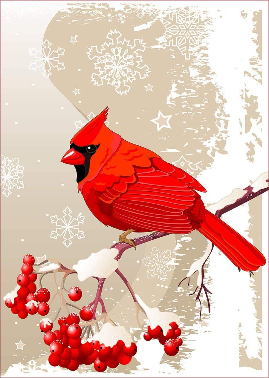 "uHome Red Cardinal Bird Garden Flag, Winter Snow Background, Double-Sided, Winter/Christmas Yard Flag to Bright Up Your Garden 12.5"" x 18"" (Red Cardinal)"