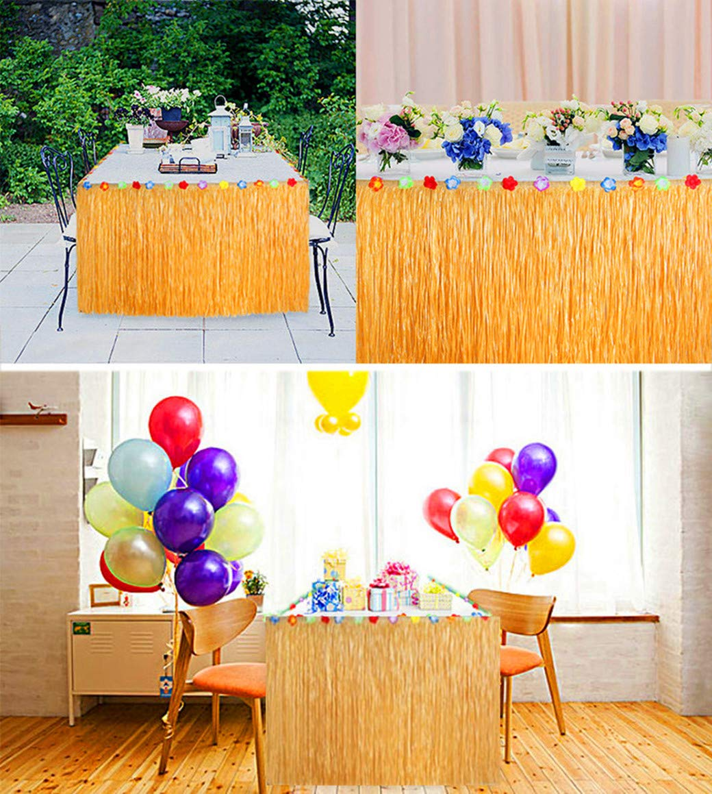 Table Skirt Party Supplies outdoor Activities Decoration Home Decoration Magic Buckle Connection Yellow Grass Table Skirt Wedding Decoration Party Set Festival Decoration Green Decoration